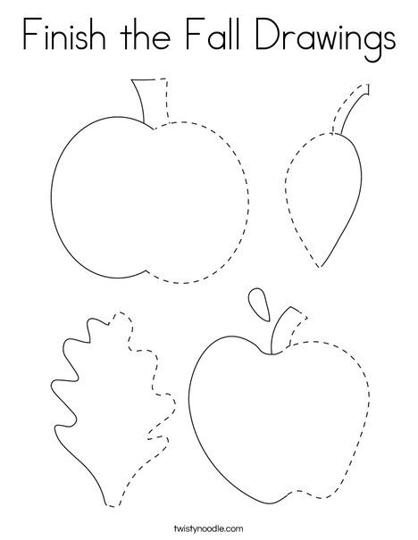 Finish the Fall Drawings Coloring Page - Twisty Noodle ...