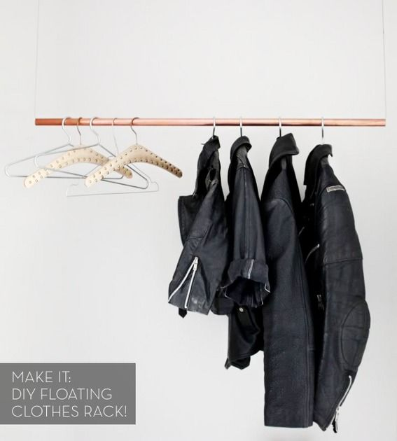 A Simple DIY Floating Clothes Rack! :) Running out of room for clothes, this is a good idea for a spare bedroom or laundry room.