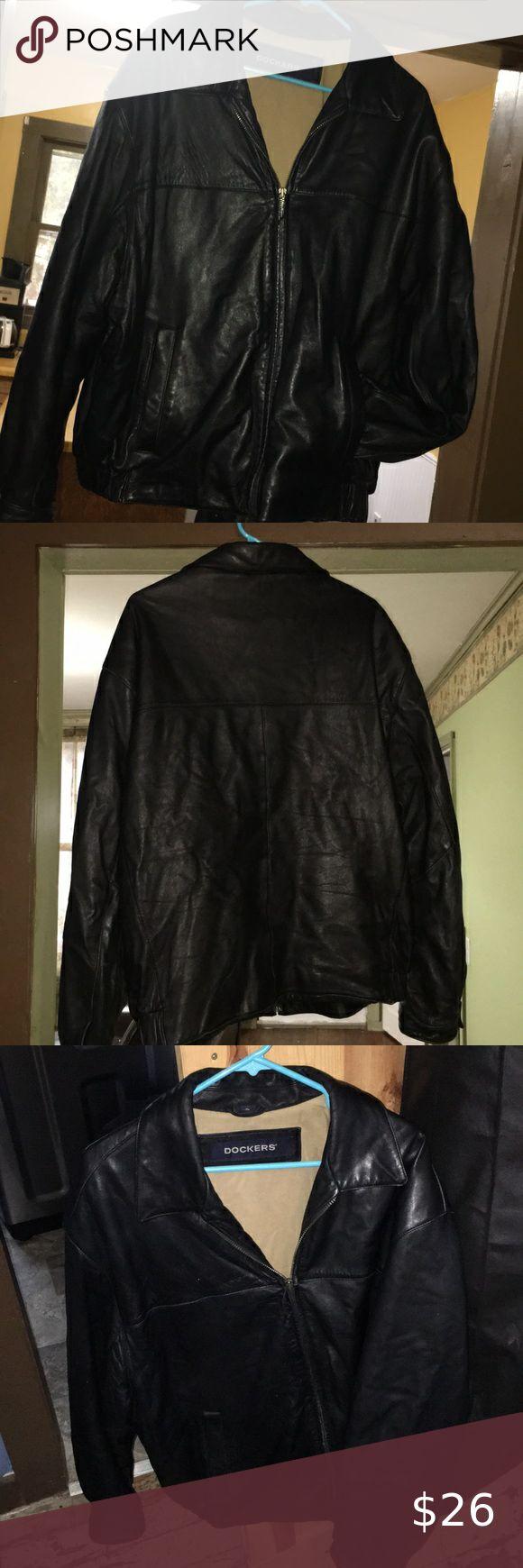 Dockers lamb leather jacket coat men's XL black in 2020