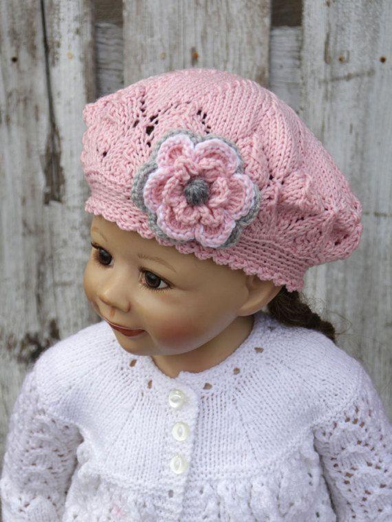 Knit Girls Hat Toddler hats girls Kids Hat Childs Hat Knit hat Pink  Gray Crochet beret  Hat Gils Knitted Children's hat Pink  4-6 years