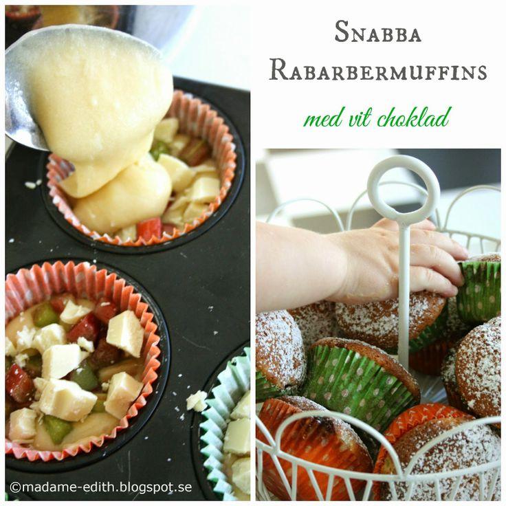 Madame Edith - Enkla recept och Klassisk inredning: Rabarbermuffins med vit choklad
