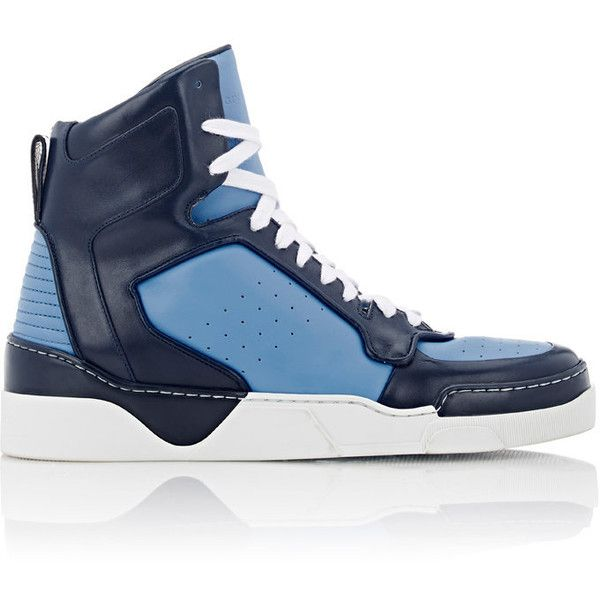 Givenchy Colorblocked Tyson Sneakers ($795) ❤ liked on Polyvore featuring men's fashion, men's shoes, men's sneakers and blue