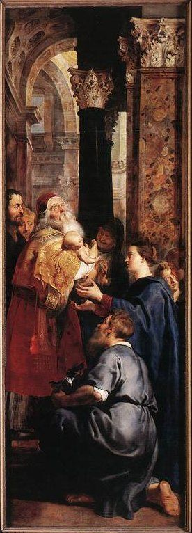 Peter Paul Rubens 1577 – 1640  Presentation in the Temple   Cathedral of Our Lady, Antwerp  Luke2:27  Simeon carries the infant. In the shadow, the prophetess Anna. Mary is supporting the child, while Joseph kneels. The spectator on the left is Nicolaas Rockox, a prominent citizen of Antwerp.    Right wing of a triptych.
