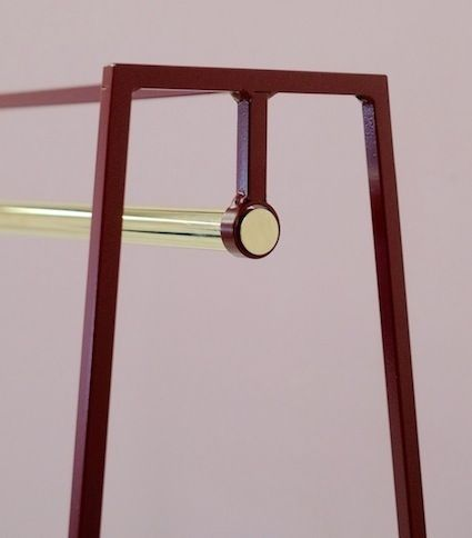 The steel 'A' clothes rail is one of our signature pieces. A stunning addition to any bedroom or hallway, the minimal design looks delicate but is surprisingly robust. This one is powder coated in beetroot.