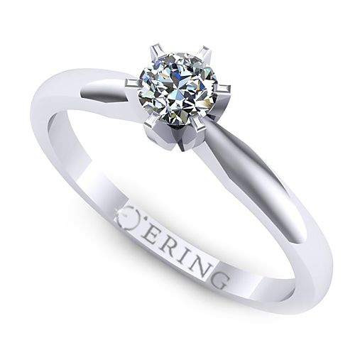 Inelul este realizat din aur alb 14k, greutate: ~2.10gr.                                    Produsul are in componenta sa: 1 x diamant, dimensiune: ~4.00mm, greutate: 0.25ct , culoare: G, claritate: VS2, forma: round