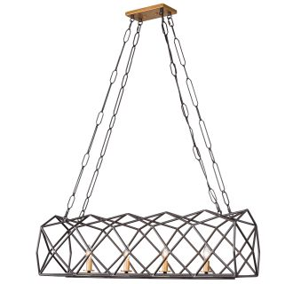 """View the Varaluz 295N04 Geo 4 Light 42"""" Wide Linear Chandelier with Cage Frame at Build.com."""