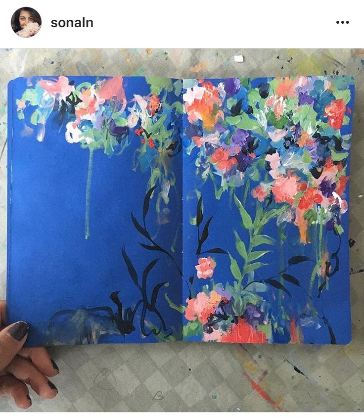 Sketchbook and flower painting