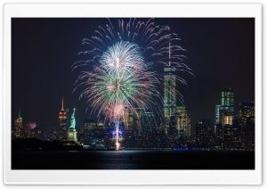 Fireworks and the New York City skyline HD Wide Wallpaper for Widescreen