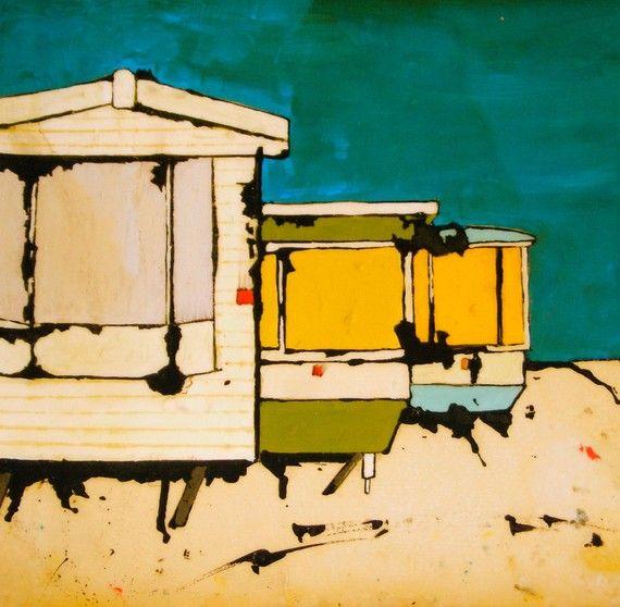 Ltd Edition Art Print Three Static Caravans.