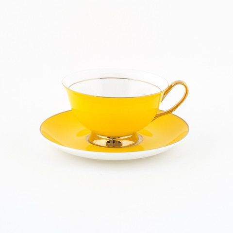 #Yellow #250mL #Teacup and #Saucer #Set | The #elegant, #stylish teacup. #Mix'n'match with our other #colours! Get inspired at lyndalt.com