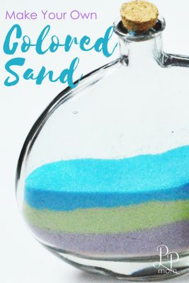 Mix Two Ingredients To Make Your Own Colored Sand! This with salt, sugar or epsom salt works if it doesn't get wet or attract bugs