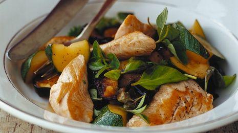 Opskrifter med squash: Kylling med squash og aubergine (300 kcal)