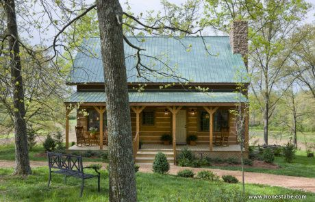 The Clayton Cabin was custom designed for beauty, efficiency, elegance and aging in place. The master bedroom, living room, dining room, kitchen and full bathroom are on the first floor. Wide, covered porches run the length home the cabin on front and back.