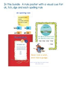 Spelling Rule posters and mulitsensory activities for ending digraphs and trigraphs ck, tch and dge.  These are tough rules to master, each poster has a visual and auditory cue to help remember the rules.Purchase this bundle for $2 less than buying each individually!This bundle includes the complete lessons for -ck, -tch and -dge plus a rule poster and game for all three.Perfect for use with Orton Gillingham lessons and literacy centers.