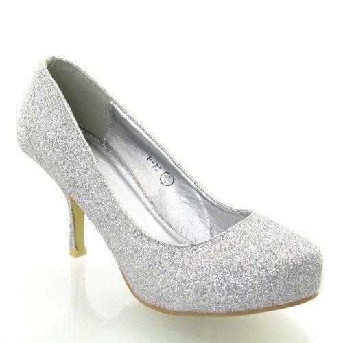 Essex Glam - Damen Glitzer Mittelhoher Absatz Braut Hochzeit Ball Party Schuhe Größe 36 - 41 - http://on-line-kaufen.de/essex-glam/essex-glam-damen-glitzer-mittelhoher-absatz-ball