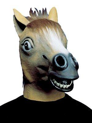 Flot hestehoved maske i brun. Latexmaske med manke
