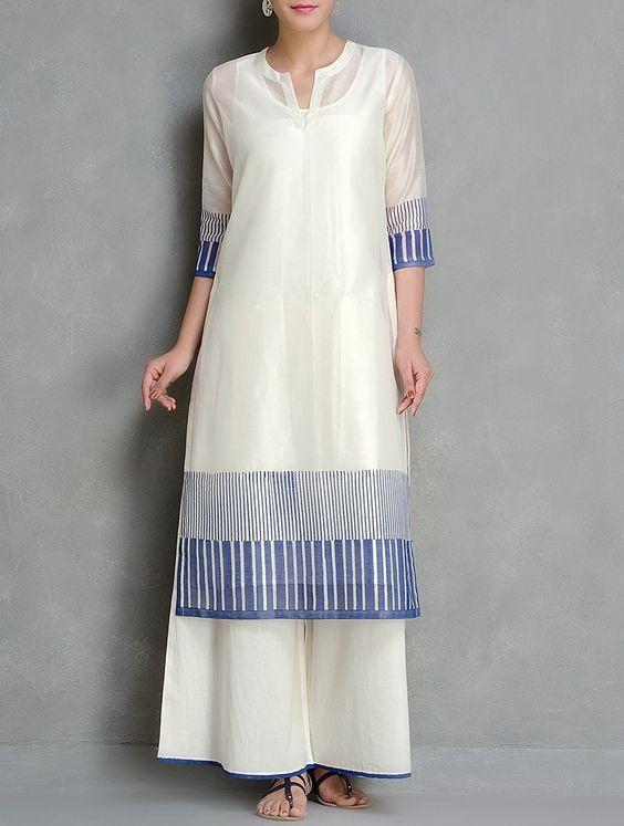 Buy Blue Ivory Block Printed Chanderi Kurta With Lining Set of 2 by Kora Women Kurtas Anubhuti Hand Cambric Apparel Kantha & Pintuck Details Online at Jaypore.com