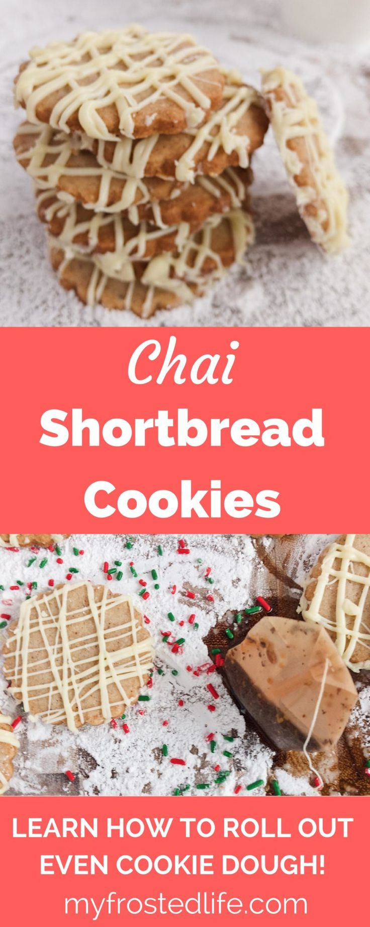 Chai Shortbread Cookies – These homemade cookies take traditional shortbread and combines them with the spices of chai tea to produce a unique cookie that is perfect for your holiday cookie tray or exchange. These rolled buttery shortbread cookies are easy to make and melt in your mouth. No holiday or Christmas is complete without a platter or display of festive, from scratch cookie. Get the recipe and learn how to roll out cookie dough evenly and without it sticking to your rolling pin!