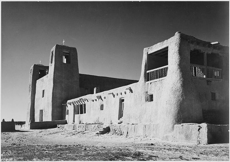 """Corner view showing mostly left wall, """"Church Acoma Pueblo"""", between 1933 and 1942, Ansel Adams, public domain via Wikimedia Commons."""