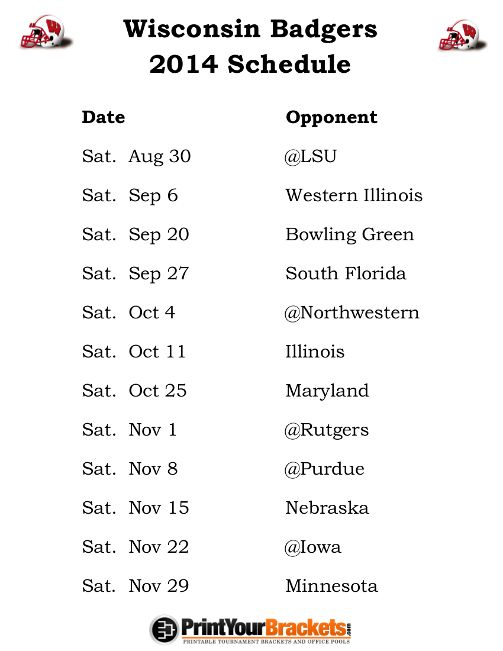 Printable Wisconsin Badgers Football Schedule 2014