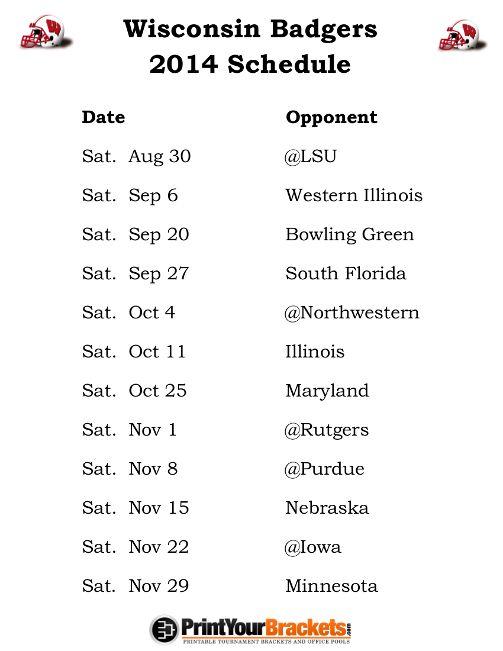 Printable Wisconsin Badgers Football Schedule 2014
