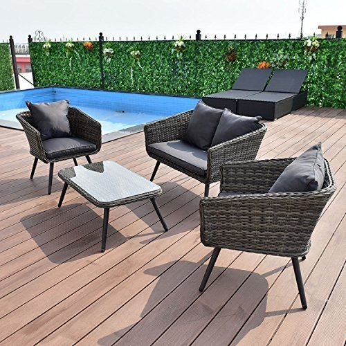 Costway 4 PCS Grey Rattan Wicker Furniture Set Loveseat Sofa Cushioned Garden Deck  That is our 4 pieces grey rattan furniture set, including 1 loveseat, 2 single sofas and 1 coffee table. This furniture set is very useful.