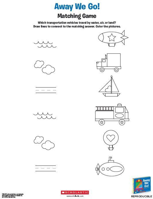 What are your child's favorite things that go? Share this activity with your little one and work together to match planes, trains, boats, and automobiles to their environments! From Away We Go!, a book by @Chiêu Anh Urban - Children's Book Author