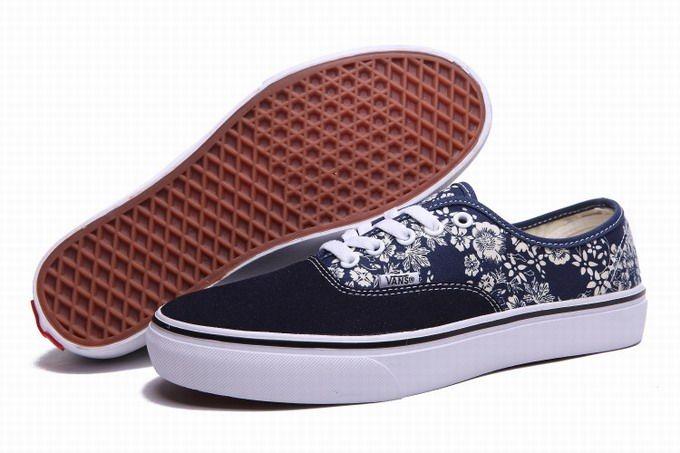 Vans Authentic Floral Little Flowers Navy-blue Women's Shoes #Vans
