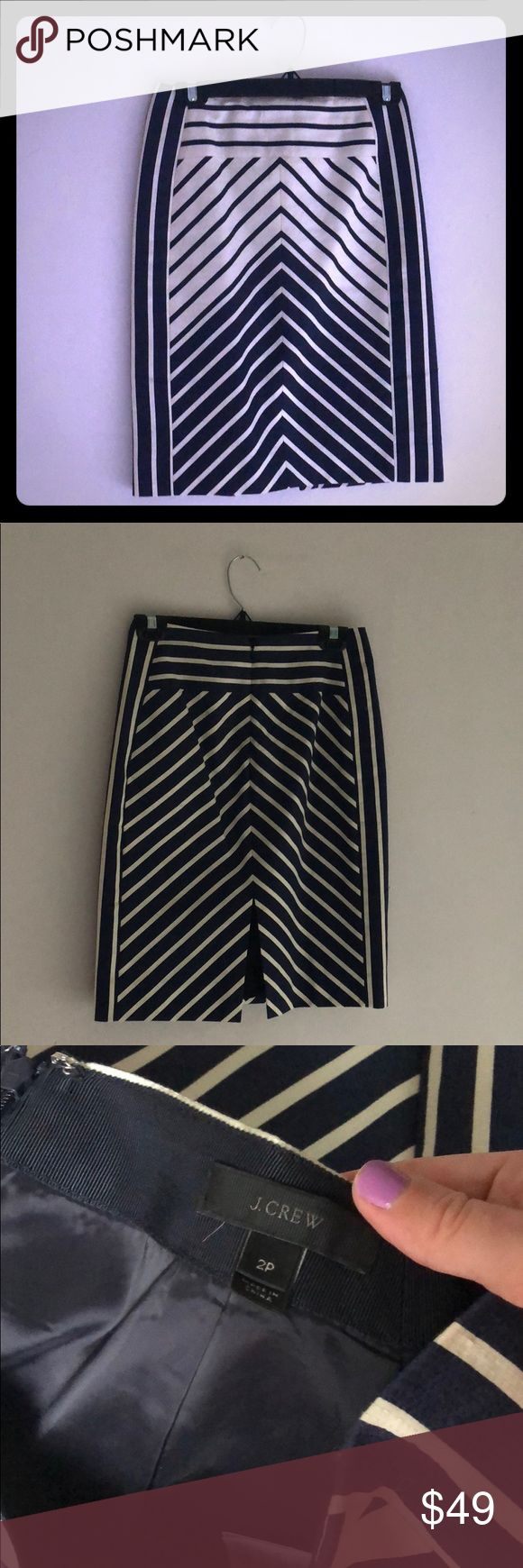 Price drop!! J Crew Navy Stripe Skirt size 2P Worn once and in perfect condition. Size 2p jcrew Skirts Pencil