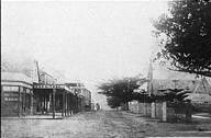 The Corso,Manly in the Northern Beaches region of Sydney in the 1880s, looking towards ocean.Shows St Matthews.