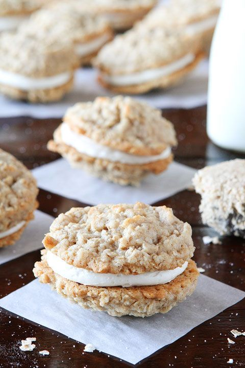 Excellent party favorite. Sometimes it's hard to find a dessert that everyone would like, but I think these accomplish that! These oatmeal cream pies are perfectly soft and chewy with a buttery crisp edge. They are simple to make with a reasonable amount of ingredients, and don't take much time. I love to generously pipe on the filling, so I would absolutely recommend doubling or even tripling the filling since it was incredibly skimpy. Delicious! (Homemade Oatmeal Buttercream Pies)