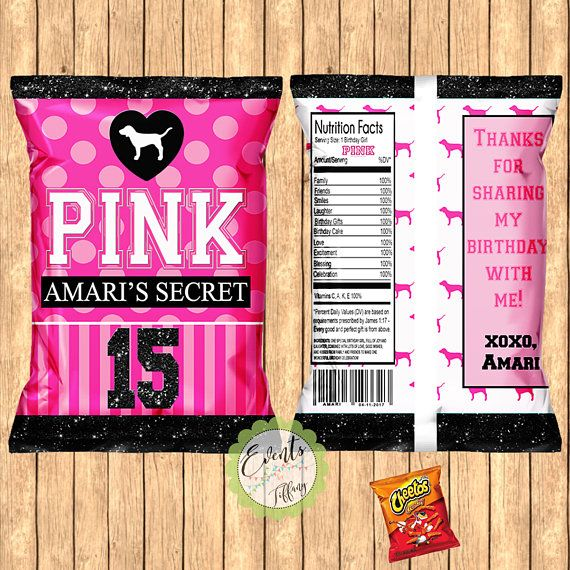 victoria 39 s secret pink inspired chip bags pink inspired favor bags pink custom chip bags pink. Black Bedroom Furniture Sets. Home Design Ideas