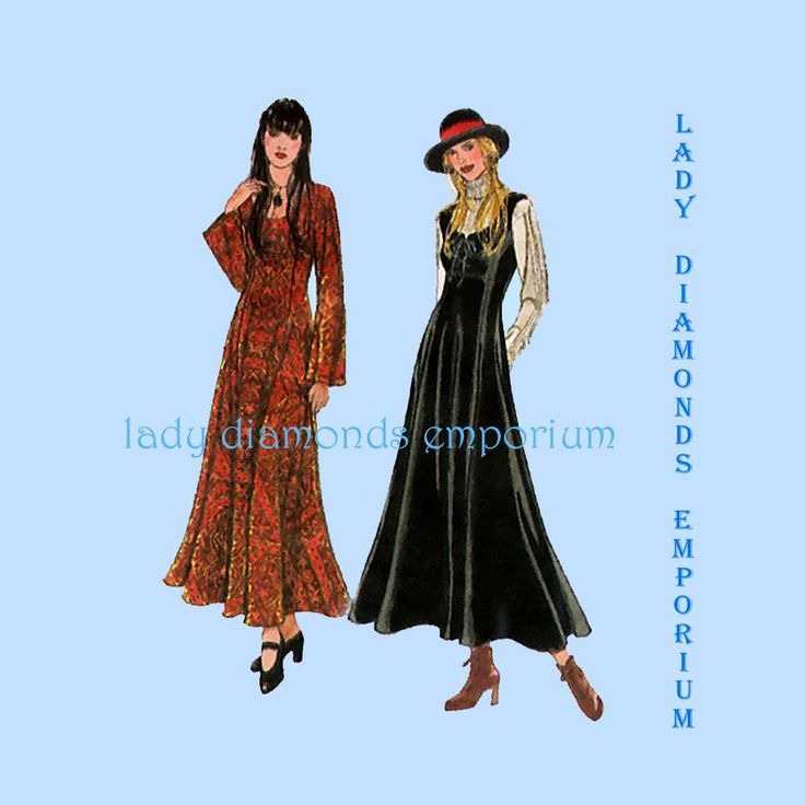 Style 2485 Womens Princess Seam Fitted & Flared Dress or Jumper Full Length Maxi Gothic Look 8 10 12 14 16 Vintage Sewing Pattern Uncut FF by ladydiamond46 on Etsy