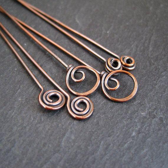 Antique Copper Headpins, fancy headpins, spiral, swirl, loop, 3 Pairs
