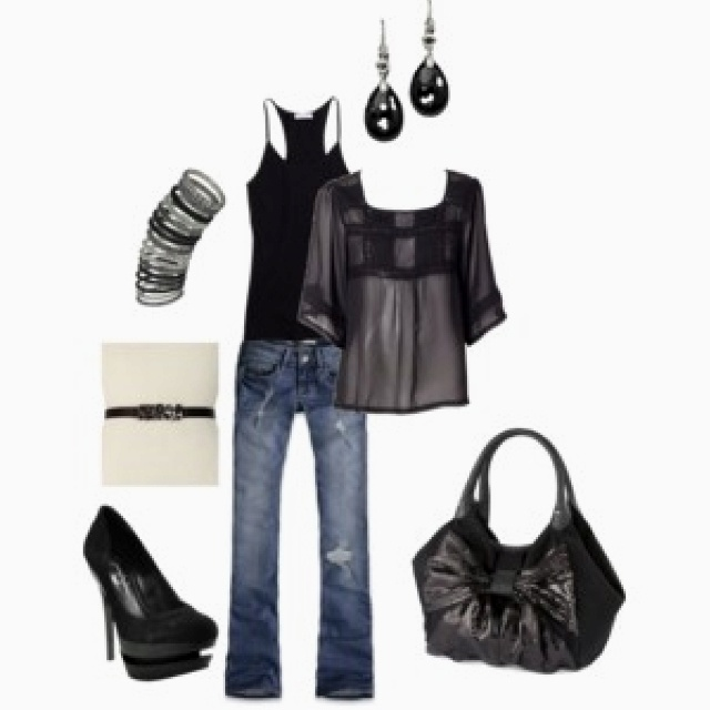 love black bag , the whole black and jeans look is cute..