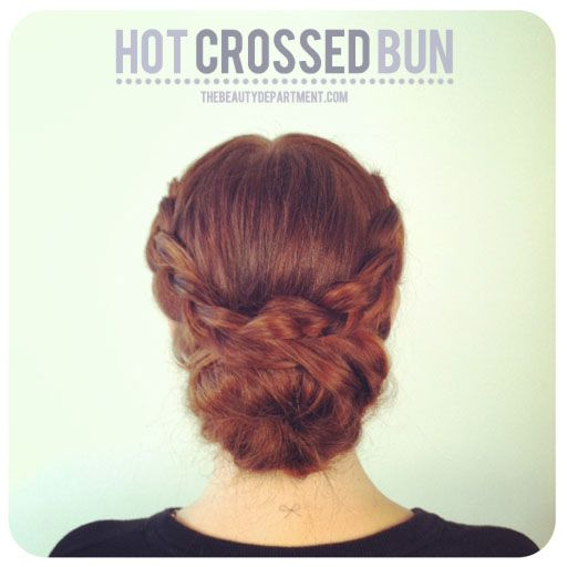 Hot crossed bun (with inside out french braids)