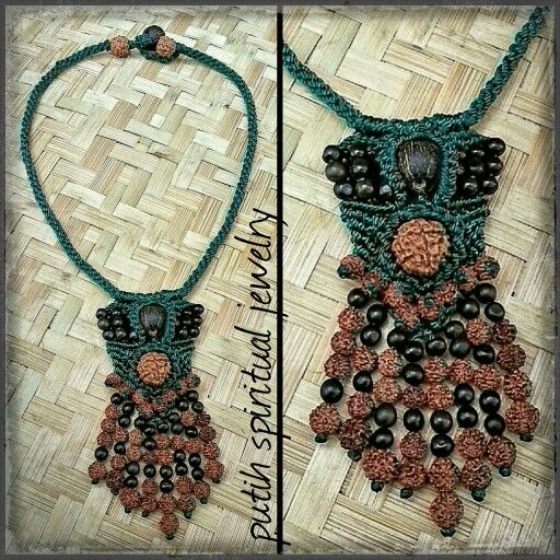 Perfect combinations of various size rudraksha, canna seed and palm queen seed with macrame technique on green nylon yarn. Necklace length 45 cm Artworks by leks onah