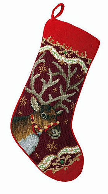 Reindeer Christmas Needlepoint Stocking- A Love Of Dogs – For the Love Of Dogs - Shopping for a Cause