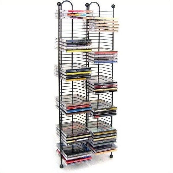 Atlantic Inc 100 Nestable CD Storage Tower ($44) ❤ liked on Polyvore featuring home, furniture, storage & shelves, black, cd storage tower, black tower, storage towers, dvd storage rack and cd dvd tower