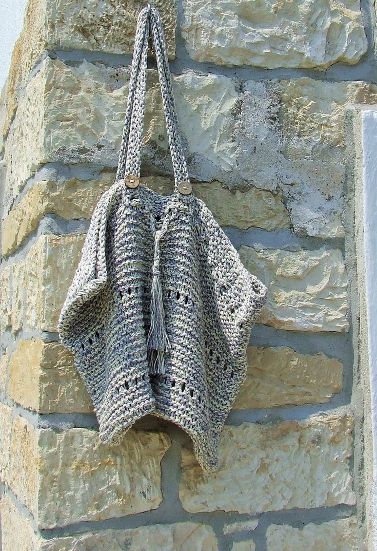 Hand knitted cotton market bag - Cotton knit tote bag in grey and cream by WoolieBits on Etsy