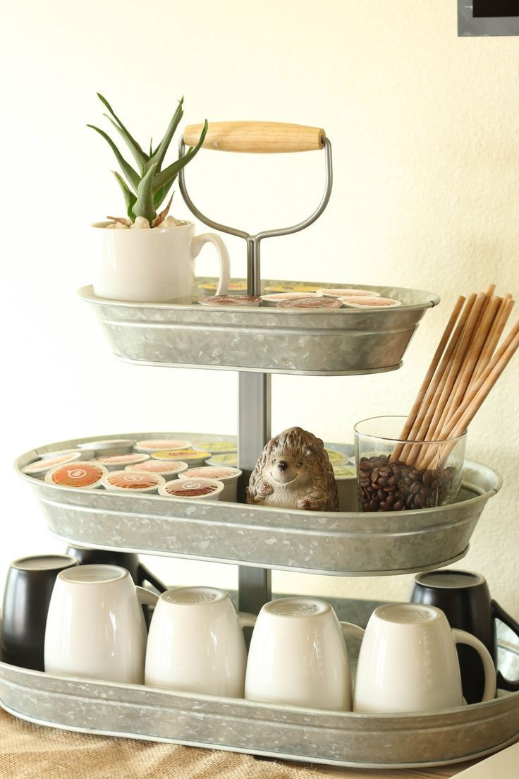 The Galvanized Three Tiered Serving Tray Is Ideal For Holding Cups Diy Tiered Serving Trays Coffee Bar Home Coffee Bars In Kitchen