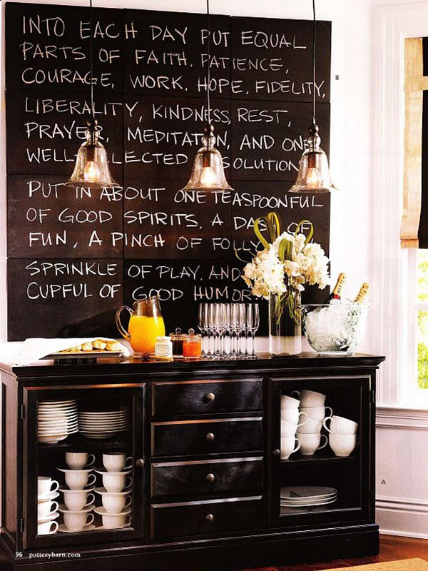 Sharon!: Dining Rooms, Buffet, Decor Ideas, Chalkboardpaint, Quote, Chalkboards Paintings, Chalk Boards, Pottery Barns, Chalkboards Wall