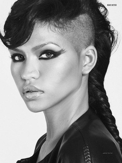 Long Half Shaved Hairstyle With Braids