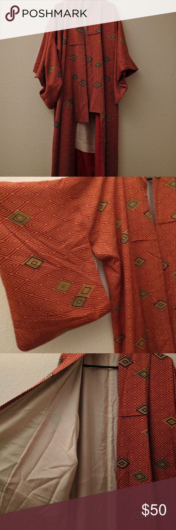 Vintage silk kimono Authentic silk kimono from 1970s Japan! Great for festivals or just lounging around the house! It's floor length (about 56 inches) and in perfect vintage condition with no identifiable flaws. One size fits all. Jackets & Coats