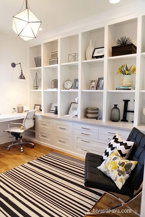 Office with built in shelving