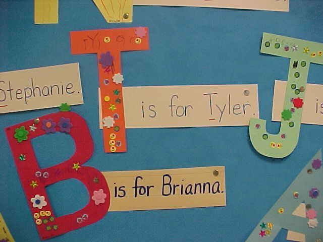 Cute idea for beginning of year. Have kids cut out and decorate their first initial - perhaps after reading an ABC book!