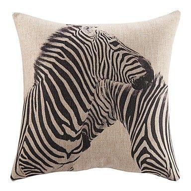 "18"" Animal Zebra Pattern Print Cotton Linen Decorative Pillow Cover – USD $ 15.99"