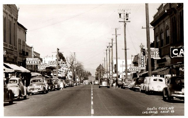Los Gatos, California, Santa Cruz Ave., 1940s by aldenjewell, via Flickr