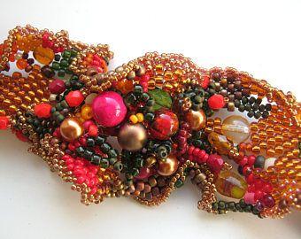 Boho, Herbst Schmuck Perlen Armband, Perlen Schmuck, Perlen Armband für Frauen Freeform Peyote Armband