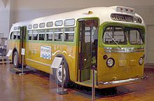 """November 13, 1956 – The United States Supreme Court declares Alabama and Montgomery, Alabama laws requiring segregated buses illegal, thus ending the Montgomery Bus Boycott. The National City Lines bus, No. 2857, on which Rosa Parks was riding before she was arrested (a GM """"old-look"""" transit bus, serial number 1132), is now a museum exhibit at the Henry Ford Museum."""